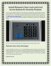 Install Biometric Door Lock and Card Access System for Security