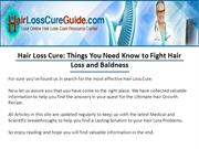 Hair Loss Cure: Things You Need Know to Fight Hair Loss and Baldness