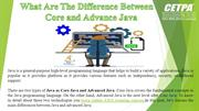 What Are The Difference Between Core and Advanced Java
