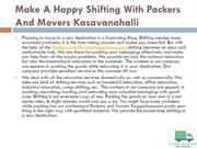 Make A Happy Shifting With Packers And Movers Kasavanahalli