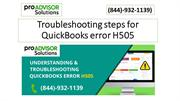 Troubleshooting steps for QuickBooks error H505