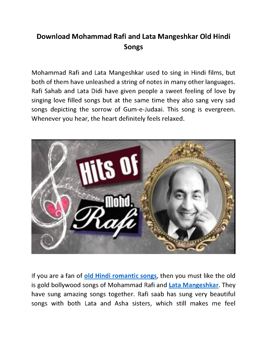 Download Mohammad Rafi And Lata Mangeshkar Old Hindi Songs Authorstream More evergreen children songs from bollywood. download mohammad rafi and lata mangeshkar old hindi songs authorstream