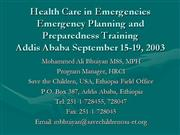 Emergency health Planning