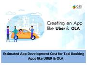 Estimated App Development Cost for Taxi Booking Apps