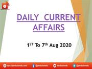 daily current  affairs 1st to 7th aug 2020