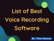 Peter Salzano - List of Best Voice Recording Software