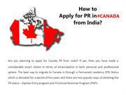 How to apply Canada PR from India