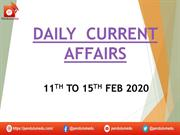 daily current  affairs 11th to 15th feb 2020