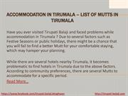 Accommodation in Tirumala – List of Mutts in Tirumala PDF