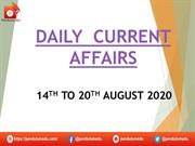 daily current  affairs 14th to 20th august 2020