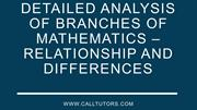 Detailed Analysis Of Branches Of Mathematics – Relationship And Differ