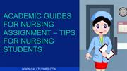 Academic Guides For Nursing Assignment – Tips For Nursing Students