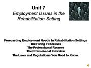 employment issues in the rehabilitation setting