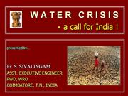 water crisis...a wake up call