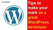 Tips to make your mark as a great WordPress developer