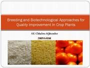 Breeding and Biotechnological Approaches for Quality Improvement In Cr