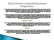 The Critical to a Peaceful Existence Forgiveness2