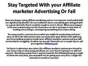 Stay Targeted With your Affiliate marketer Advertising Or
