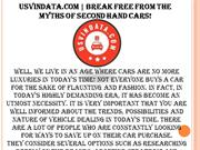 USVINData.com   Break Free From The Myths Of Second Hand Cars!