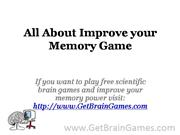All About Improve your Memory Game