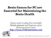 Brain Games for PC are Essential for Maintaining the Brain Health