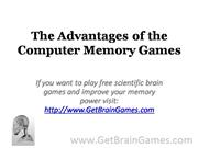 The Advantages of the Computer Memory Games