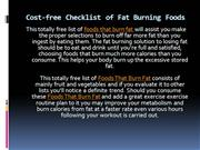 Cost-free Checklist of Fat Burning Foods