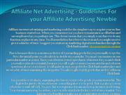 Affiliate Net Advertising - Guidelines For your Affiliate