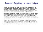Learn Buying a car tips