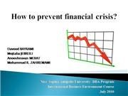 how to prevent financial crisis?