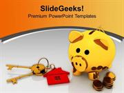 PIGGY BANK WITH COINS AND KEY REAL ESTATE POWERPOINT TEMPLATE
