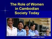 The role of the women in Cambodian society today