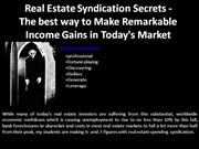 Real Estate Syndication Secrets - The best way