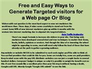 Free and Easy Ways to Generate Targeted visitors