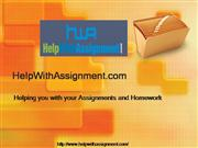 Assignment Help at Help With Assignment.com