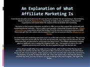 An Explanation of What Affiliate Marketing Is
