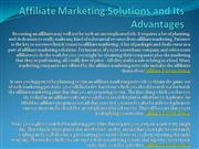 Affiliate Marketing Solutions and Its Advantages