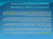 Network Marketing Vs Affiliate Marketing - Which is