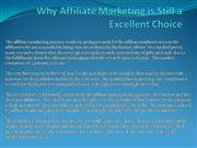 Why Affiliate Marketing is Still a Excellent Choice