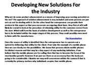 Developing New Solutions For the Industry