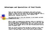 Advantages and Specialties of Used Trucks