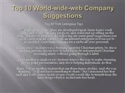 Top 10 World-wide-web Company Suggestions