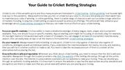 Your Guide to Cricket Betting Strategies