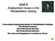 Final Version Employment Issues in Therapy Settings