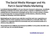 The Social Media Manager and His Part in