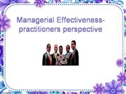 Managerial effectiveness-practitioners perspective