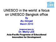 UNESCO in the world a focus on UNESCO Bangkok office