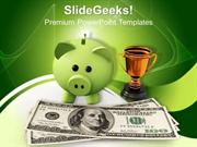 PIGGY BANK WITH GOLD TROPHY INVESTMENT POWERPOINT TEMPLATE