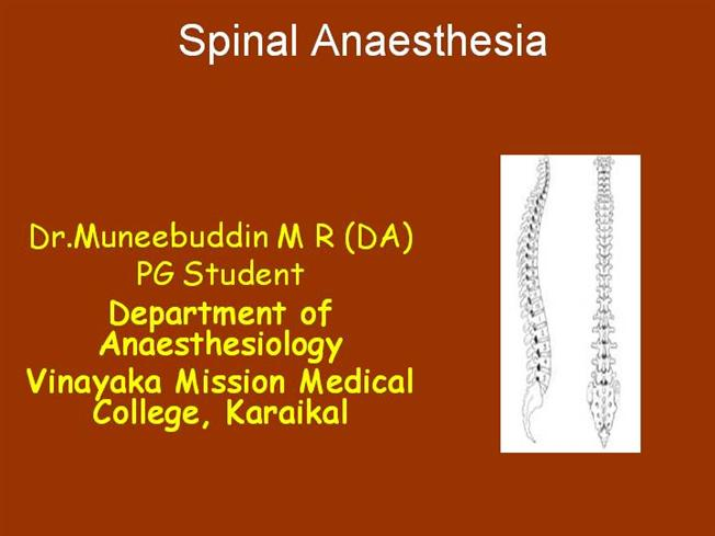 Spinal Anesthesia |authorSTREAM