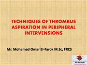 Technique of thrombus aspiration in peripheral intervensions
